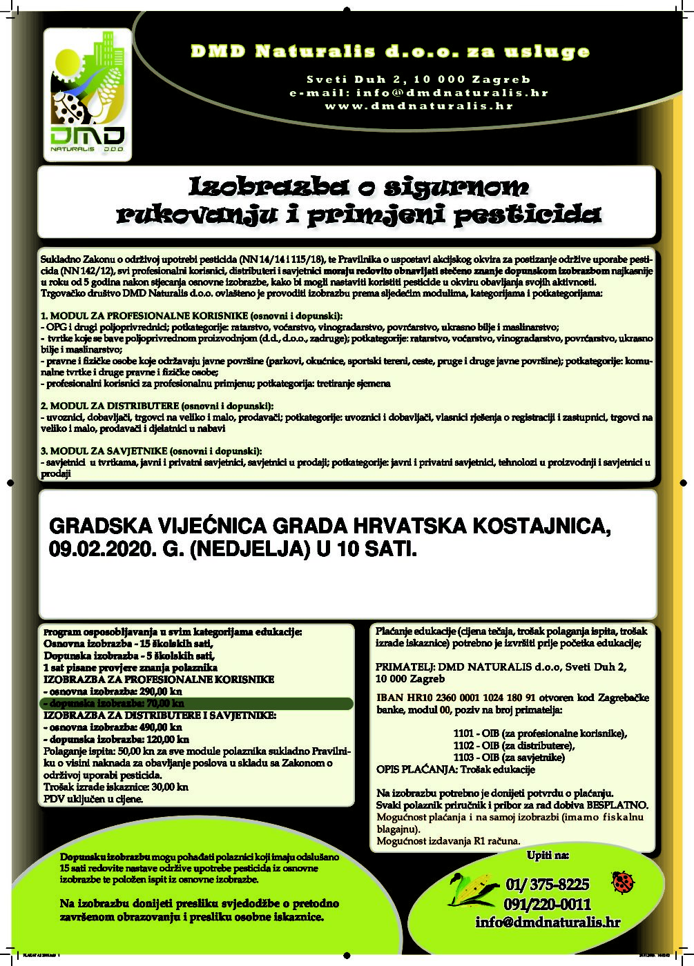Izobrazba o sigurnom rukovanju i primjeni pesticida