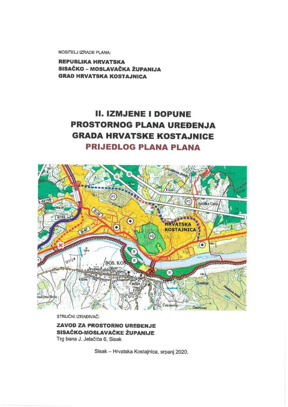 Javna rasprava o prijedlogu II. Izmjena i dopuna prostornog plana uređenja Grada Hrvatska Kostajnica