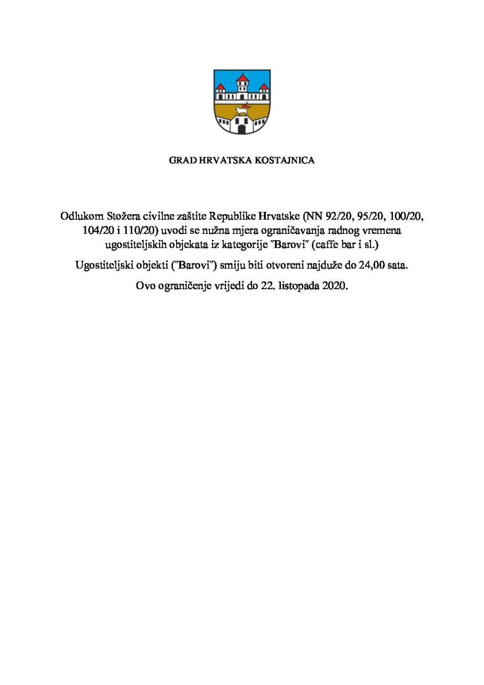 Odluka Stožera civilne zaštite Republike Hrvatske o ograničavanju radnog vremena ugostiteljskih objekata
