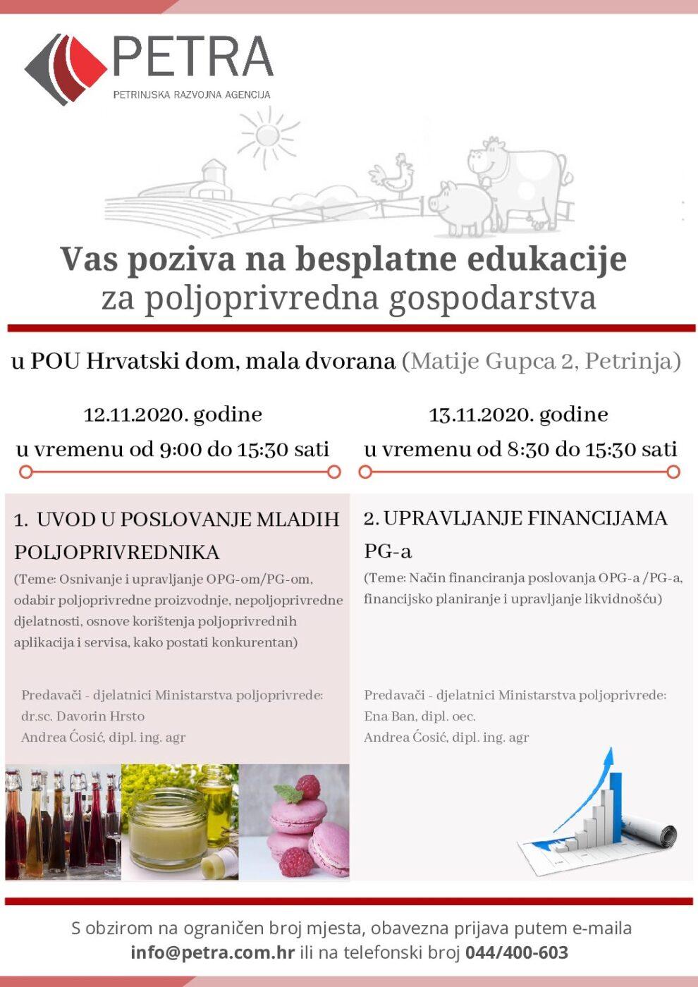 Besplatne edukacije za poljoprivredna gospodarstva